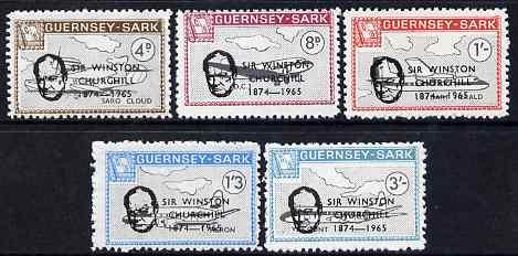 Guernsey - Sark 1966 Sir Winston Churchill overprint on Aircraft perf set of 5 unmounted mint, Rosen CS 85-9