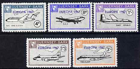 Guernsey - Sark 1967 Europa overprint on Aircraft perf set of 5 unmounted mint, Rosen CS 109-13