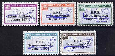 Guernsey - Sark 1971 Scout Jamboree overprint in black on Aircraft perf set of 5 unmounted mint