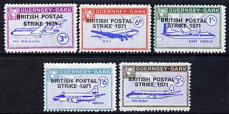 Guernsey - Sark 1971 British Postal Strike overprint in black on Aircraft perf set of 5 unmounted mint