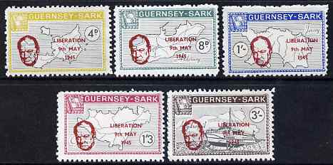 Guernsey - Sark 1965 20th Anniversary of Liberation overprint on perf definitive set of 5 unmounted mint, Rosen CS 68-72