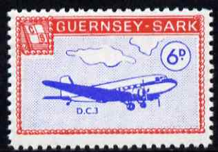 Guernsey - Sark 1966 Aircraft 6d Douglas DC-3 with Europa overprint omitted unmounted mint (blocks available price pro-rata) see note after Rosen CS 101