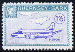 Guernsey - Sark 1966 Aircraft 1s6d Heron with Europa overprint omitted unmounted mint (blocks available price pro-rata) see note after Rosen CS 101