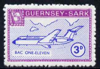 Guernsey - Sark 1966 Aircraft 3d BAC-111 with Europa overprint omitted unmounted mint (blocks available price pro-rata) see note after Rosen CS 101