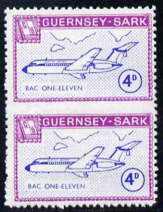 Guernsey - Sark 1967 Aircraft 4d BAC-111 vertical pair imperf between, unmounted mint Rosen CS 104var