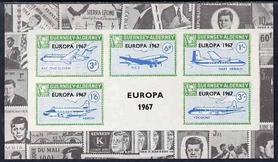 Guernsey - Alderney 1967 Europa overprint on Aircraft imperf deluxe m/sheet with montage of Kennedy stamps in borders, unmounted mint, Rosen CSA 88LS