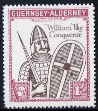 Guernsey - Alderney 1966 900th Anniversary of Norman Conquest 1s sepia & rose perf with Norman Conquest overprint omitted, unmounted mint, Rosen CSA 63var