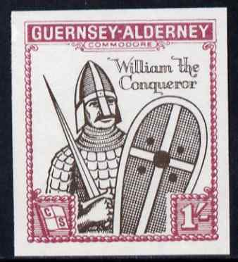 Guernsey - Alderney 1966 900th Anniversary of Norman Conquest 1s sepia & rose imperf with Norman Conquest overprint omitted, unmounted mint, Rosen CSA 63a