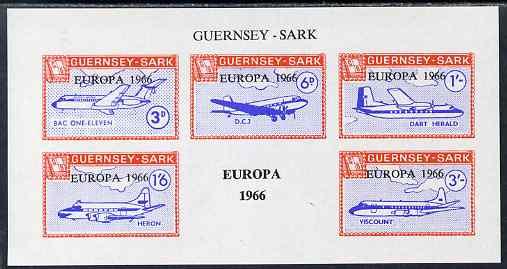 Guernsey - Sark 1966 Europa overprint on Aircraft imperf m/sheet unmounted mint, Rosen CS 102MS
