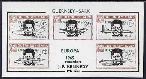 Guernsey - Sark 1965 John F Kennedy overprint on Aircraft imperf m/sheet additionally overprinted Europa in error, unmounted mint, Rosen CS 96MSvar