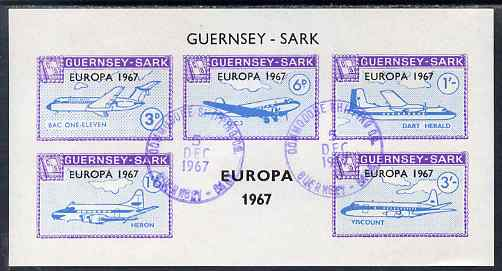 Guernsey - Sark 1967 Europa overprint on Aircraft imperf m/sheet find cds used, Rosen CS 114MS