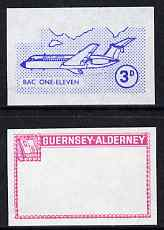 Guernsey - Alderney 1967 Aircraft - 3d BAC-111 imperf proofs comprising the central vignette in blue and the frame in carmine, both unmounted mint as Rosen CSA 77