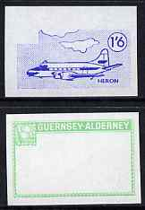 Guernsey - Alderney 1967 Aircraft - 1s6d Heron imperf proofs comprising the central vignette in blue and the frame in emerald, both unmounted mint as Rosen CSA 80