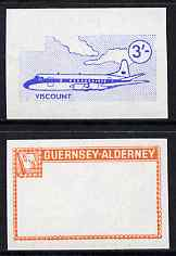 Guernsey - Alderney 1967 Aircraft - 3s Viscount imperf proofs comprising the central vignette in blue and the frame in vermilion, both unmounted mint as Rosen CSA 81, stamps on aviation, stamps on viscount