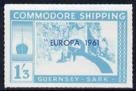 Guernsey - Sark 1961 Europa overprint on Commodore Shipping 1s3d turquoise, unmounted mint Rosen CS 26