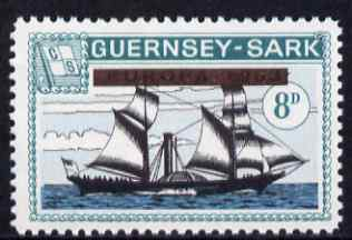 Guernsey - Sark 1964 Provisional - Europa opt obliterated on 8d Ships (Atlanta) unmounted mint Rosen CS 52
