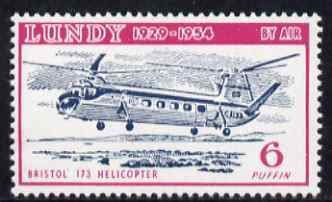 Lundy 1954 definitive Airmail 6p Bristol 173 Helicopter unmounted mint Rosen LU 103