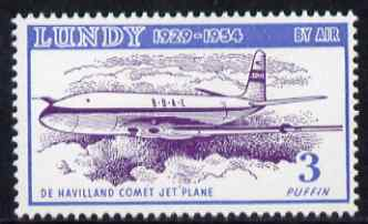 Lundy 1954 definitive Airmail 3p De Havilland Comet unmounted mint Rosen LU 102