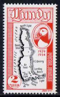 Lundy 1954 definitive Postage 2p Map unmounted mint Rosen LU 94
