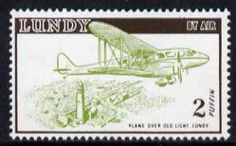 Lundy 1954 definitive Airmail without dates 2p De Havilland Rapide & Lighthouse unmounted mint Rosen LU 107