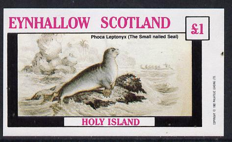 Eynhallow 1982 Animals #09 (Small Nailed Seal) imperf souvenir sheet (�1 value) unmounted mint