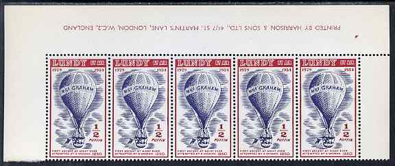 Lundy 1954 definitive Airmail with dates 1/2p Mrs Graham