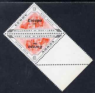 Lundy 1961 Europa 9p Mare & Foals triangular tete-beche pair, one stamp with variety