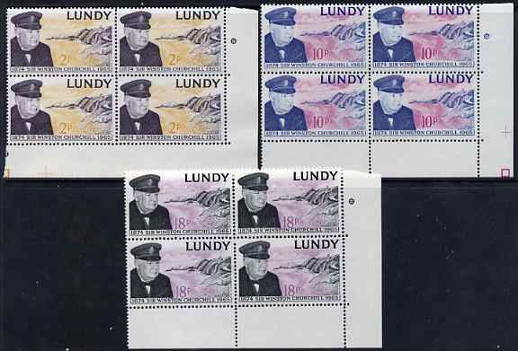Lundy 1965 Sir Winston Churchill perf set of 3 in blocks of 4 unmounted mint Rosen LU 153-55