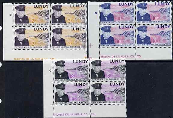 Lundy 1965 Sir Winston Churchill perf set of 3 in De La Rue imprint blocks of 4 unmounted mint Rosen LU 153-55
