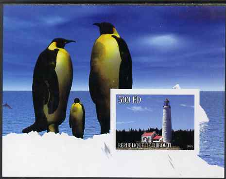 Djibouti 2005 Lighthouses #3 imperf s/sheet (with Penguins as background) unmounted mint