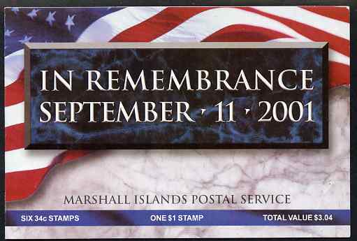 Booklet - Marshall Islands 2000 Support for Victims of Attack on World Trade Centre $3.04 booklet complete and fine, SG SB28