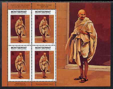 Montserrat 1998 Famous People of the 20th Century - Mahatma Gandhi (India) perf sheetlet containing 4 vals unmounted mint as SG 1071