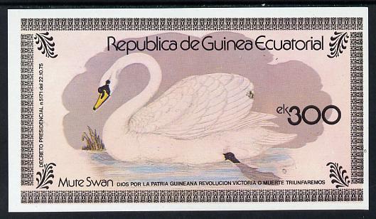Equatorial Guinea 1978 Water Birds (Mute Swan) 300ek imperf m/sheet unmounted mint