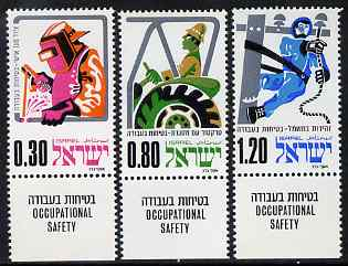 Israel 1975 Occupational Safety perf set of 3 unmounted mint with tabs, SG 592-4