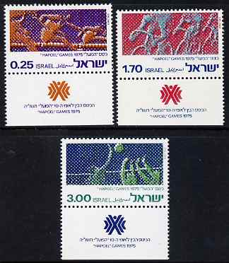 Israel 1975 Hapoel Games perf set of 3 unmounted mint with tabs, SG 601-3