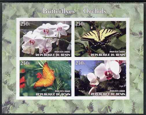 Benin 2005 Butterflies & Orchids imperf sheetlet containing 4 values unmounted mint