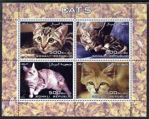 Somalia 2005 Domestic Cats perf sheetlet containing 4 values unmounted mint