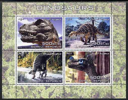 Somalia 2005 Dinosaurs perf sheetlet containing 4 values unmounted mint. Note this item is privately produced and is offered purely on its thematic appeal