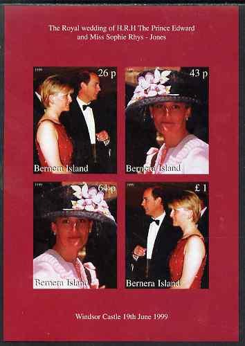 Bernera 1999 Royal Wedding (Edward & Sophie) imperf sheetlet containing set of 4 values unmounted mint
