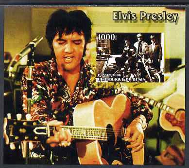 Benin 2006 Elvis Presley #2 (wearing coloured shirt) imperf souvenir sheet unmounted mint, stamps on music, stamps on personalities, stamps on elvis, stamps on entertainments, stamps on films, stamps on cinema, stamps on motorbikes