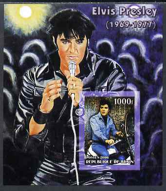Benin 2006 Elvis Presley #1 (wearing leather suit) imperf souvenir sheet unmounted mint