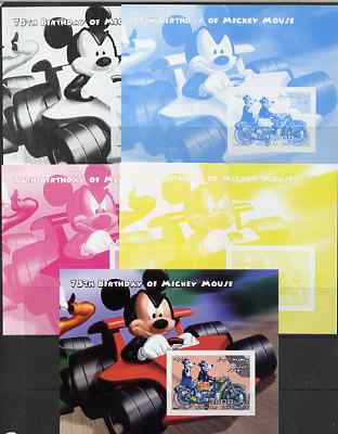 Somalia 2004 75th Birthday of Mickey Mouse #19 - Motorcycle m/sheet - the set of 5 imperf progressive proofs comprising the 4 individual colours plus all 4-colour composite, unmounted mint