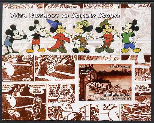 Somalia 2004 75th Birthday of Mickey Mouse #11 - Cartoon Strip in Brown imperf m/sheet unmounted mint