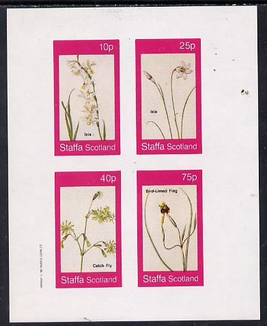 Staffa 1982 Flowers #07 (Ixia, Flag etc) imperf  set of 4 values (10p to 75p) unmounted mint