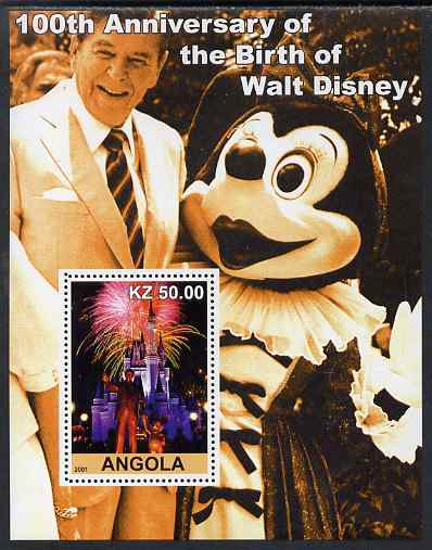 Angola 2001 Birth Centenary of Walt Disney #10 perf s/sheet - Disneyland Fireworks & Ronald Reagan, unmounted mint