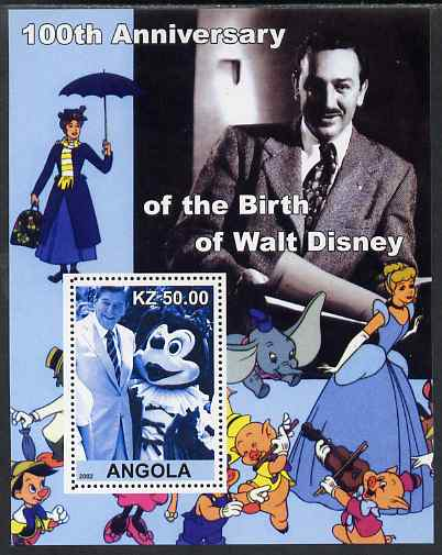 Angola 2002 Birth Centenary of Walt Disney #08 perf s/sheet - Mickey Mouse & Ronald Reagan unmounted mint