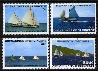St Vincent - Grenadines 1988 Bequia Regatta set of 4 (SG 554-7) unmounted mint, stamps on ships, stamps on sport, stamps on yachts, stamps on sailing