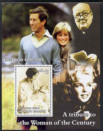 West Swan Island (Falkland Islands) 2002 A Tribute to the Woman of the Century #4 Queen Mother perf souvenir sheet unmounted mint (Also shows Charles, Diana, Churchill & Marilyn)