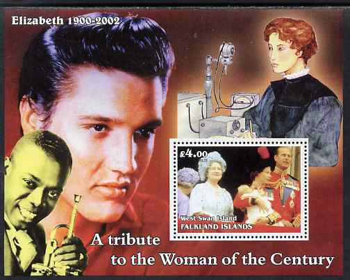 West Swan Island (Falkland Islands) 2002 A Tribute to the Woman of the Century #2 Queen Mother perf souvenir sheet unmounted mint (Also shows Elvis & Satchmo)