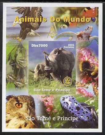 St Thomas & Prince Islands 2005 Animals of the World - Rhinoceros imperf s/sheet with Rotary Logo unmounted mint
